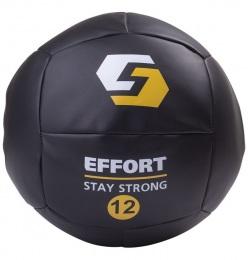 Медицинский мяч E252, кожзам, 12 кг, черный