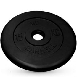 Диск обрезиненный черного цвета, 51 мм MB Barbell MB-PltB51-15