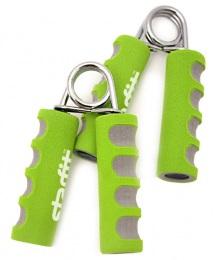 Эспандер кистевой ES-304 пружинный, эргономичный, мягкая ручка, зеленый/серый (пара)