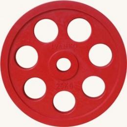 Диск JOHNS обрезиненный 25кг., d51мм., красный