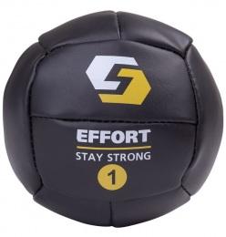 Набивной мяч для кроссфита EMD1, кожзам, 1 кг, черный