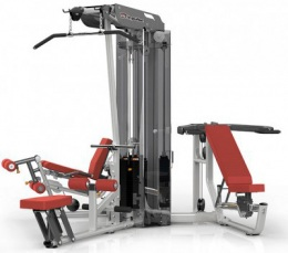 Aerofit ES3000+ES3000OPT 3-х стековая мультистанция с тяговой колонной, тяга сверху, гребная тяга, сгибание и разгибание ног, многопозиционный жим от груди и плеч, многопозиционная тяговая колонна, 200 ф