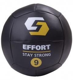 Тяжелый мяч для кроссфита Медицинбол EMD9, кожзам, 9 кг, черный