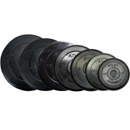 Набор обрезиненных дисков Atlet, D-26 мм, 1,25-25 кг