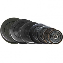 Набор обрезиненных дисков, черные Barbell, D-26 мм, 1,25-25 кг, Стандарт
