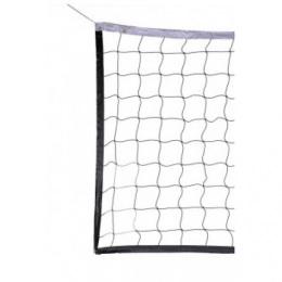 Сетка волейбол Д=2,2мм, яч 100*100, цвет бел/зел. Размер 1,0*9,5м обш с 4х сторон ПП Верх лента 5 см