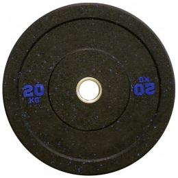 Блин для штанги бамперный 450 мм. с цветными вкраплениями D-51, 20 кг