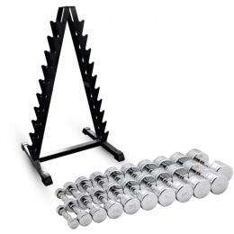 Набор хромированных гантелей 1-10 кг 20 шт. со стойкой Barbell