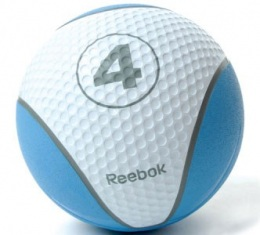 Резиновый медбол, тренировочный, Reebok 4 кг, синий