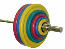 Штанга олимпийская тренировочная 127 кг (МВ) цветная.
