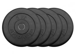 Набор обрезиненных дисков 5 кг (4 шт), черные ProfiGym