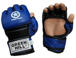 Перчатки для смешанных единоборств COMBAT SAMBO MMR-0027CS, к/з, синий