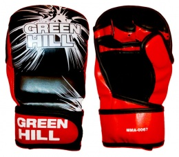 Перчатки для смешанных единоборств MMA-0067, к/з, черный/красный