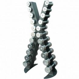 Стойка с набором хромированных гантелей от 0,5 до 10 кг X-LINE X410