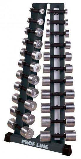 Prof Line Series ST-410 Стойка с набором хромированных гантелей от 0,5 до 10 кг