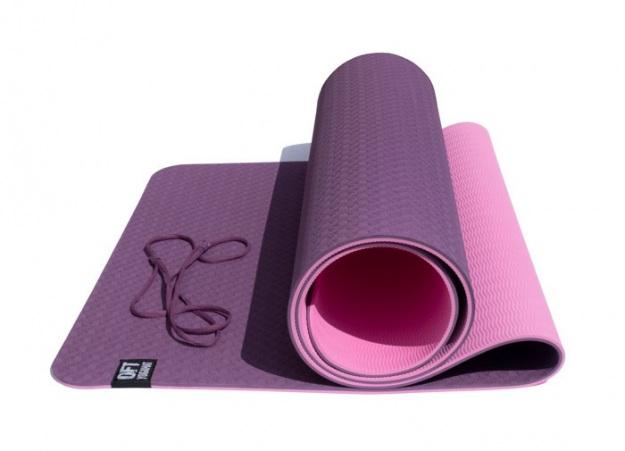 Коврик для йоги 6 мм двуслойный TPE бордово-розовый