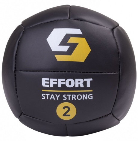Медицинский мяч EMD2, кожзам, 2 кг, черный