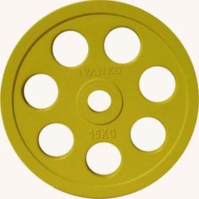 Диск JOHNS обрезиненный 15кг., d51мм., желтый