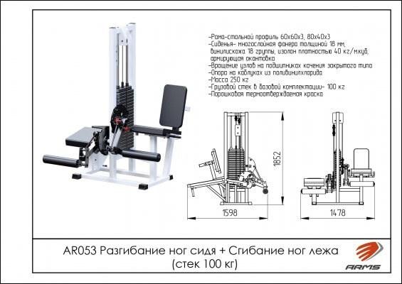 Разгибание ног сидя + Сгибание ног лежа (стек 100 кг) WS053