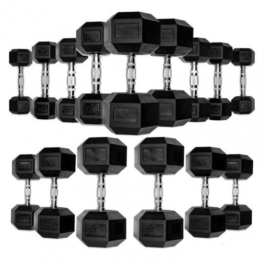 Гантели обрезиненные гексагональные, полный ряд от 1 до 60 кг