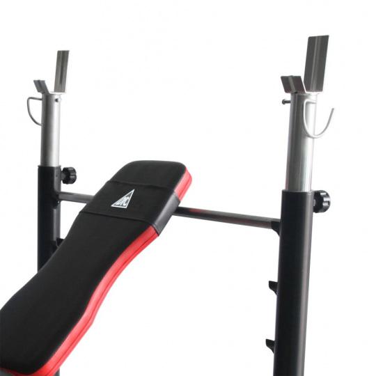 Силовая скамья со стойками для дома черный/красный DFC