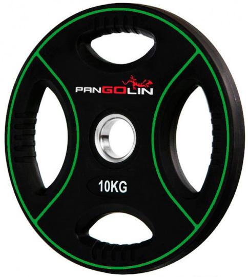 Диск олимпийский полиуретановый с 4-мя хватами 10 кг PANGOLIN WP012PU