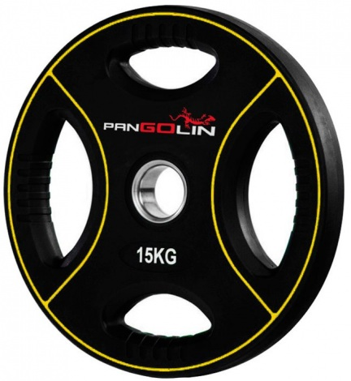 Диск олимпийский полиуретановый с 4-мя хватами 15 кг PANGOLIN WP012PU