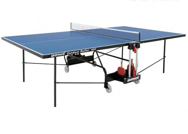 Всепогодный стол для тенниса Donic Outdoor Roller 400 синий