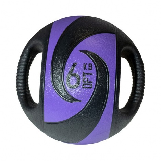 Резиновый медбол (медицинбол) с хватами, 6 кг