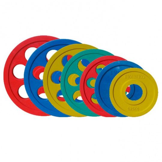 Набор дисков JOHNS цветн. 7-ми хват. обрезин. d51мм. от 1,25 кг до 25 кг
