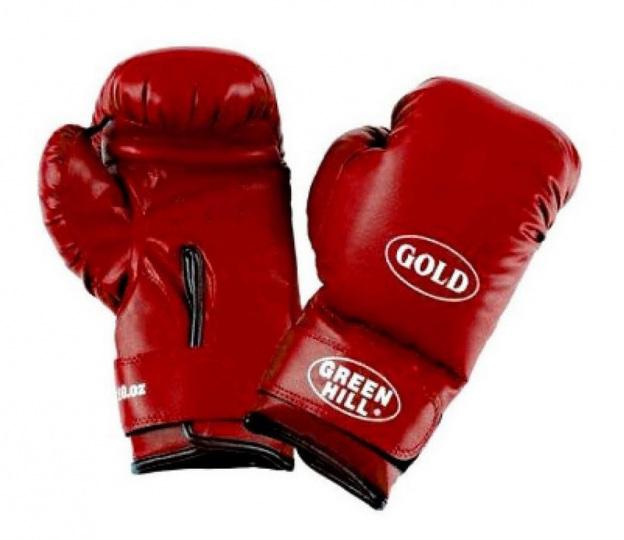 Перчатки боксерские GOLD BGG-2030, 10oz, к/з, красный